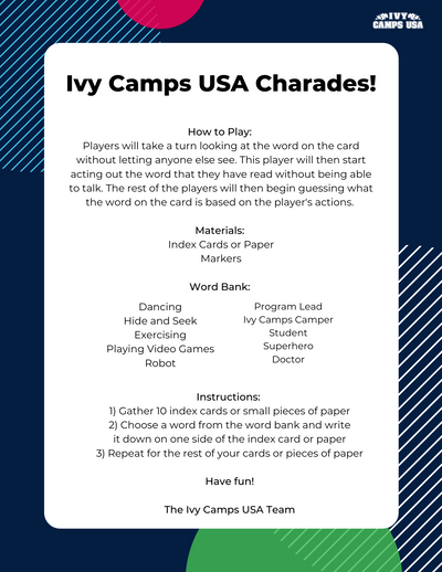 Ivy Camps USA Charades