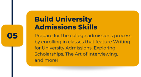 Classes at Ivy Camps USA to build skills towards college admissions