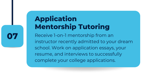 Individual tutoring support for US college admissions including essays, interviews, and resume.