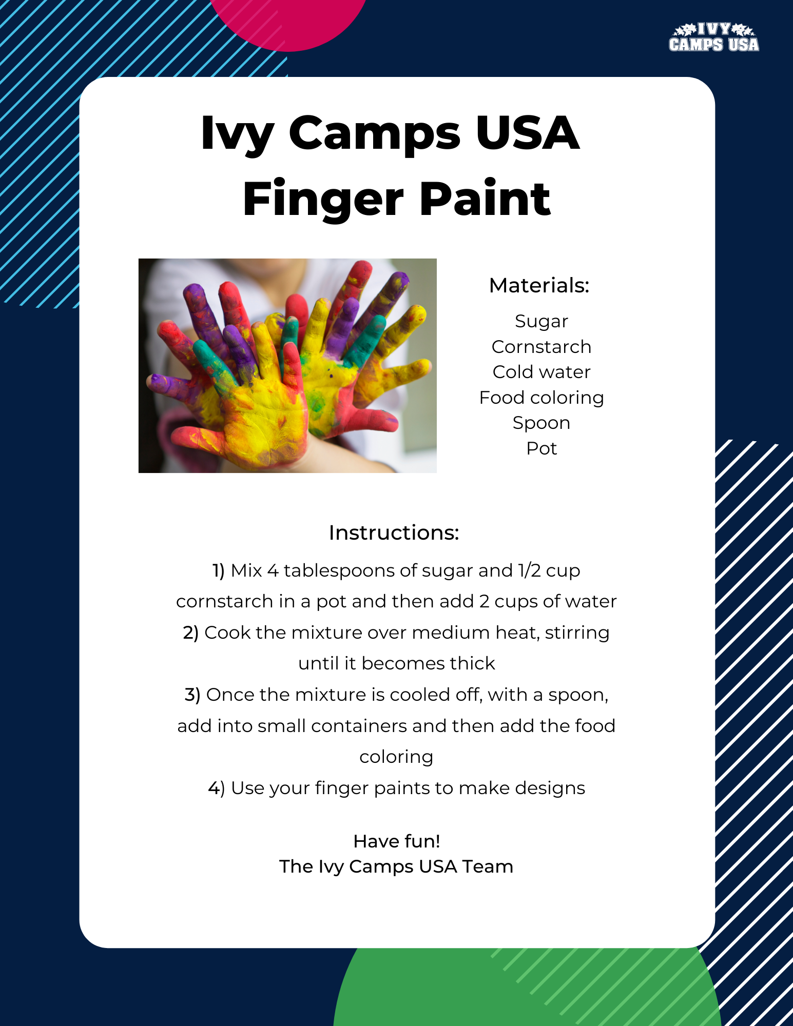 Ivy Camps USA Finger Paint Activity Crafts
