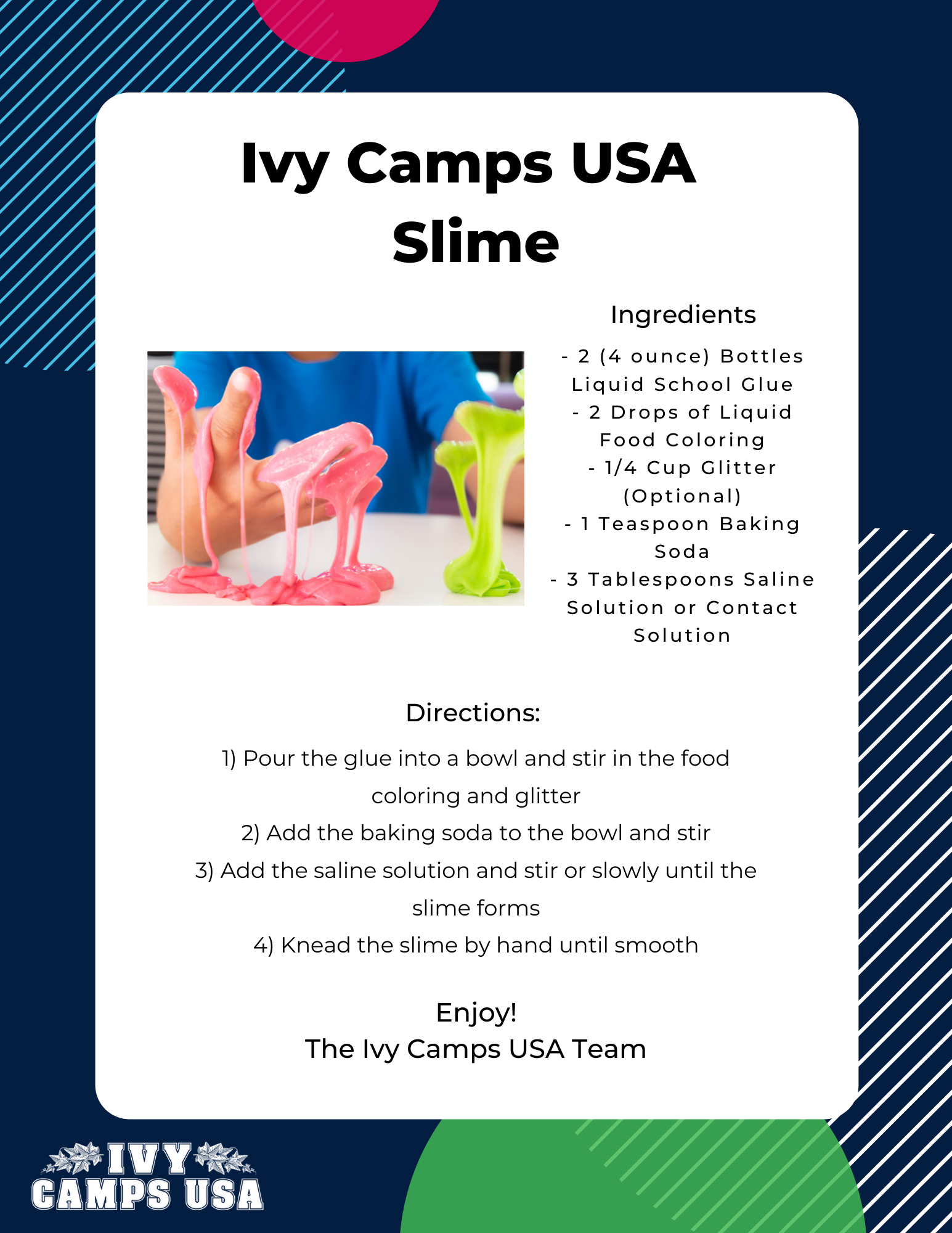 Ivy Camps USA interactive STEAM activity for slime