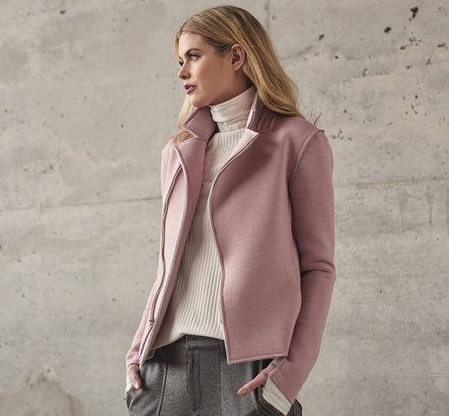 Introducing our favorite Fall style of the season... Lola & Sophie's NEW Neoprene Jacket in unexpected pink and ubiquitous grey.