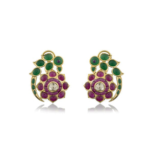 The Beautiful Parrot Studs with Nuvo polki & Colour Stone