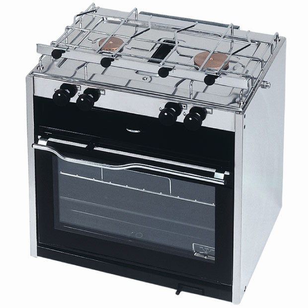 Double Burner Cooker with Grill Compartment and Oven