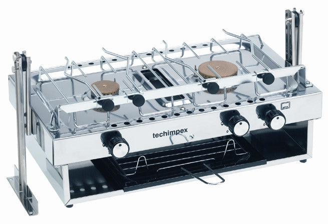 Cooker with grill with 2 burners