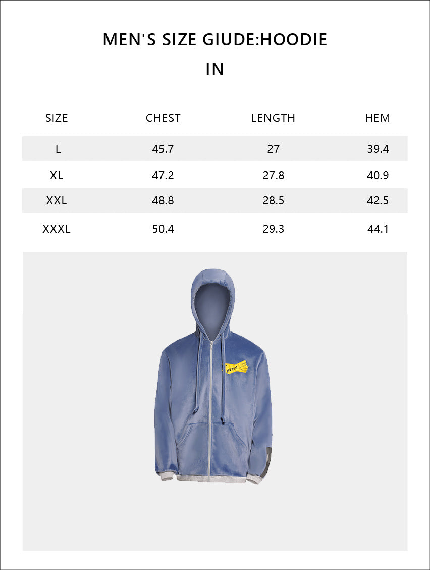 Size chart of Men's Velvet Full-zip Hoodie UPF50+