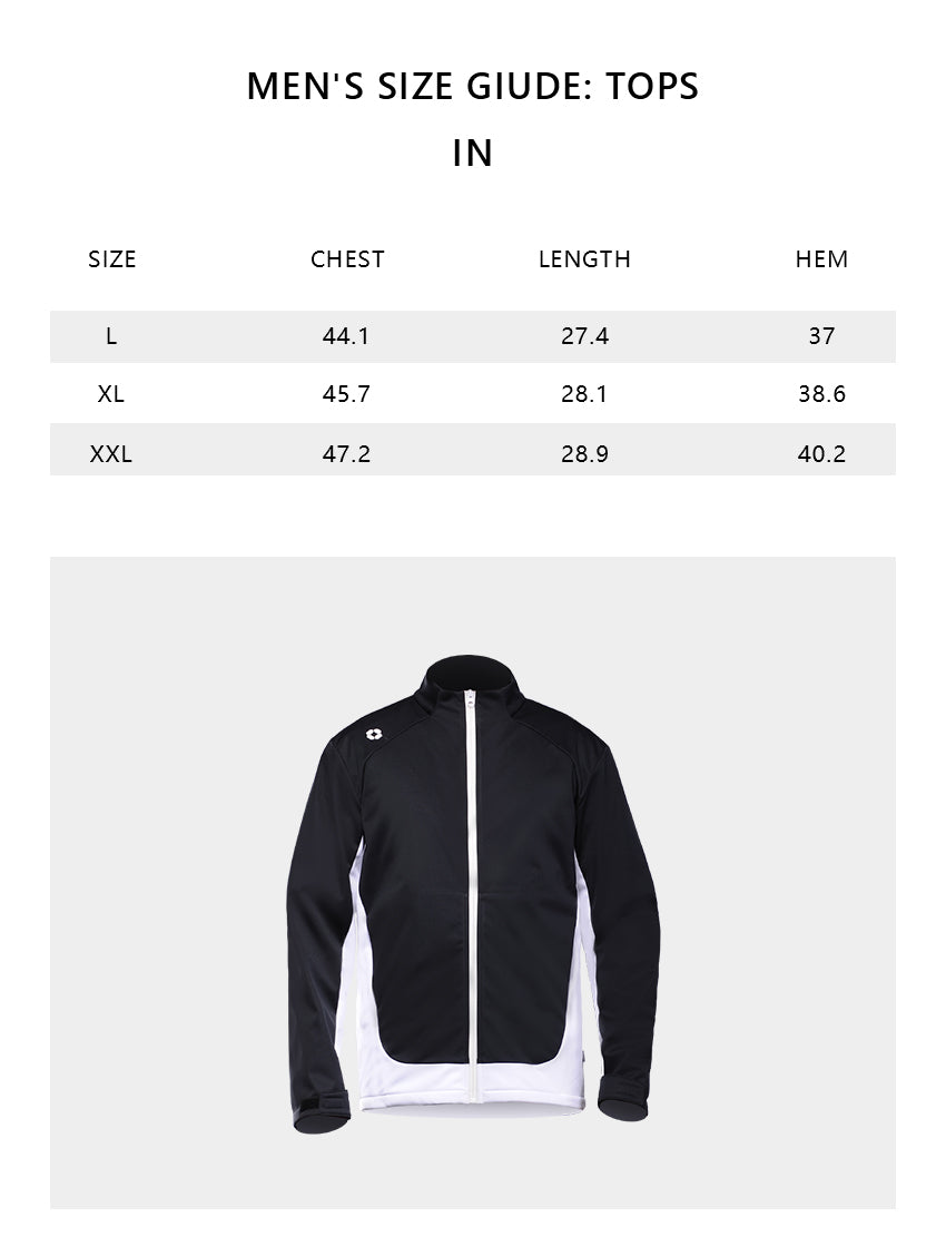 Size chart of Men's Stand Collar Crop Jacket UPF50+