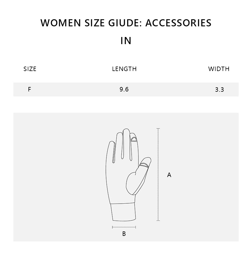 Size chart of Sun-protective Outdoors Glove UPF50+