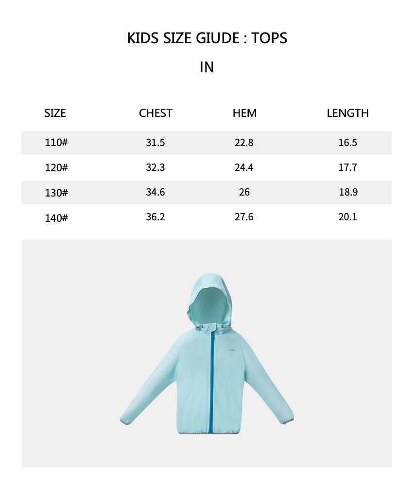 Size chart of Kid's Two-tone Zip-up Hoodie UPF50+
