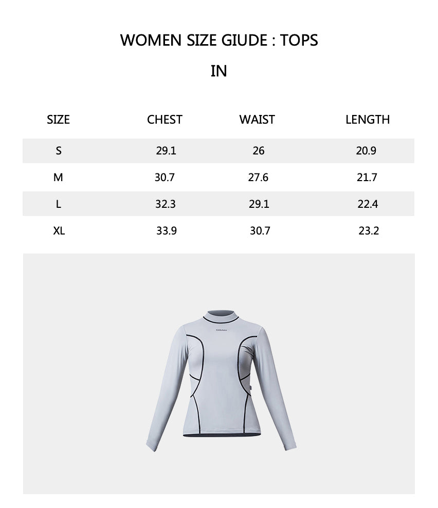 Sizechart of Women's Long Sleeve Swimming Rash Guard UPF50+