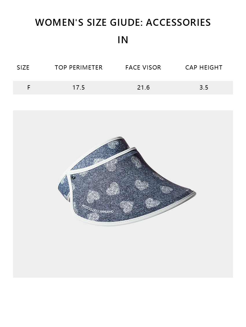 Size chart of Products Women's Premium Tannin Printing UV Protection Adjustable Face Sheild Visor Hat UPF 50+
