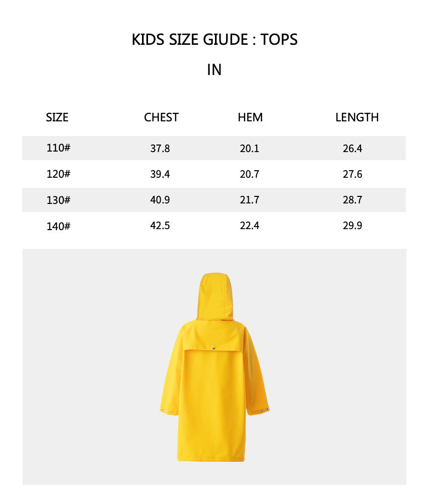 Size chart of Products Kid's Rainproof Coat