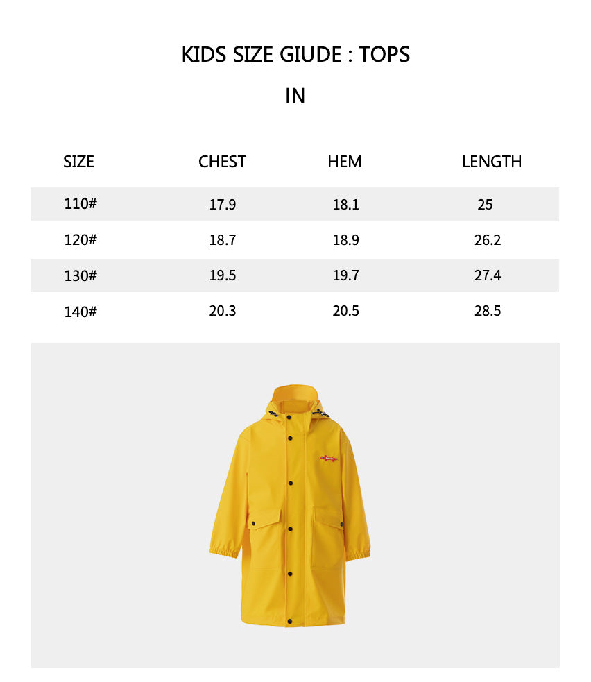 Size chart of Kid's Rainproof Windcheater