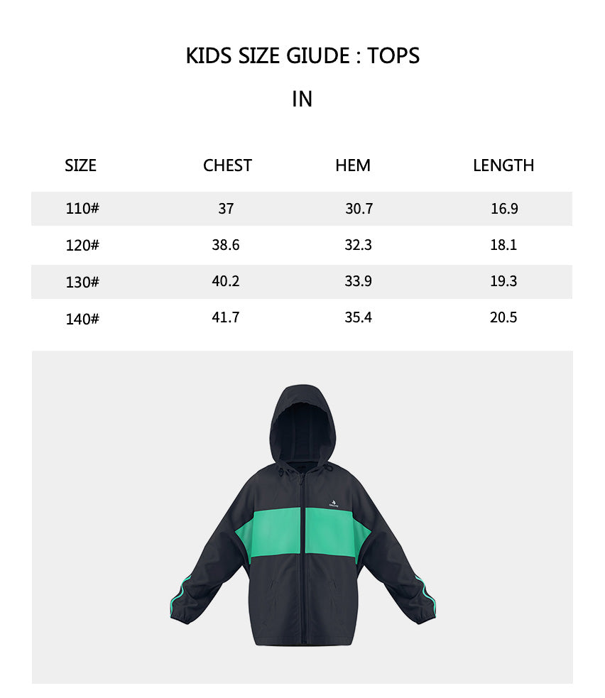 Size chart of Kid's Two-tone Hoodie Jacket UPF50+