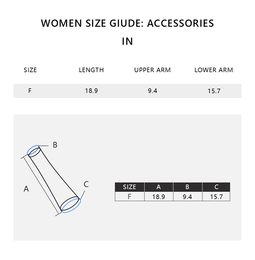 Size chart of Women's Loose Sun-proof Oversleeves UPF50+