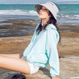 Load image into Gallery viewer, girl wearing blue stand high collar sun-protective hoodie