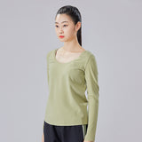 Load image into Gallery viewer, display of green round neck long sleeve top