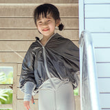 Load image into Gallery viewer, Kid wearing Grey Full-zip Sun Protective Hoodie