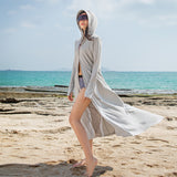 Load image into Gallery viewer, girl wearing grey sun-protective long hoodie