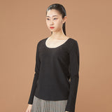 Load image into Gallery viewer, display of black round neck long sleeve top