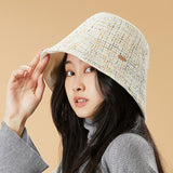 Load image into Gallery viewer, display of white tweed bucket hat