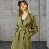 Load image into Gallery viewer, display of army-green hooded trench coat