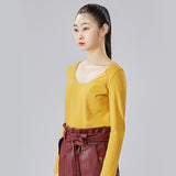 Load image into Gallery viewer, display of yellow round neck long sleeve top