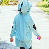 Load image into Gallery viewer, Kid wearing blue Dinosaur Zip-up Hoodie