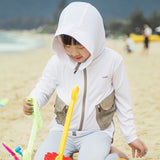Load image into Gallery viewer, Kid wearing White Two-tone Sun-proof Hoodie