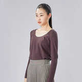 Load image into Gallery viewer, display of brown round neck long sleeve top