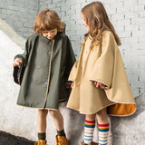Load image into Gallery viewer, Kids wearing army-green and khaki waterproof cloaks