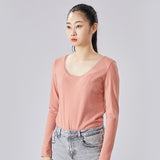 Load image into Gallery viewer, display of flesh-pink round neck long sleeve top