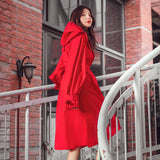 Load image into Gallery viewer, girl wearing red rain-proof windcoat