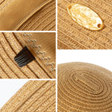 Load image into Gallery viewer, Women's Wide-Brim Foldable Fedora Beach Straw Hats UPF 50+