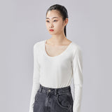 Load image into Gallery viewer, display of white round neck long sleeve top