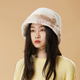 Load image into Gallery viewer, girl wearing white plush bucket hat