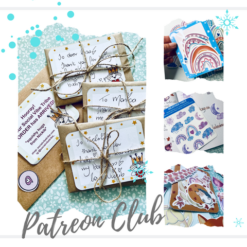 multiple images in a white box post linking to social vibe tribe patreon
