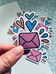 Heart Mail Die-Cut Sticker (10 in a pack) #DC005
