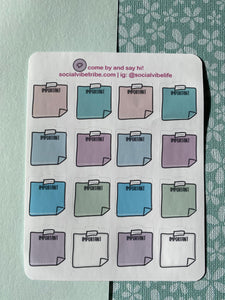 Important Sticky Note Pastel Sticker Sheet (SS045)