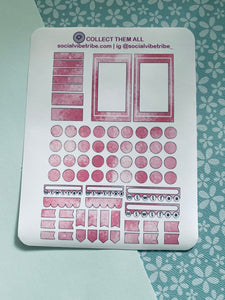 Pink Glitter Boxes and Dots Sticker Sheet #PG002
