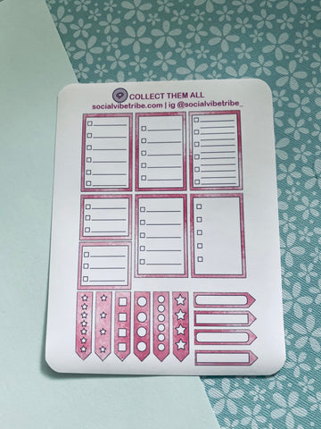 Pink Glitter Bullets and Boxes Sticker Sheet #PG003