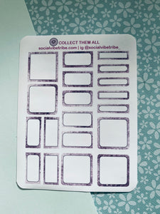 Purple Glitter Boxes Sticker Sheet #PG005