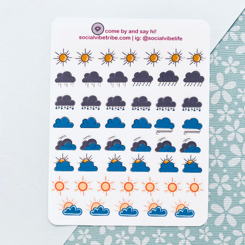 Weather Icon Sticker Sheets (SS001)