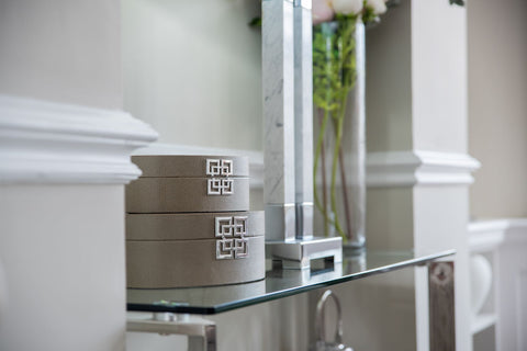 Side Console with Table Lamp and Small Storage Box