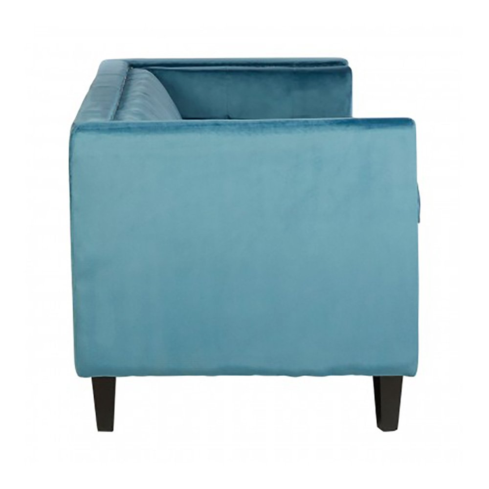 Ford Turquoise Blue Velvet Angular Sofa, 3 Seater