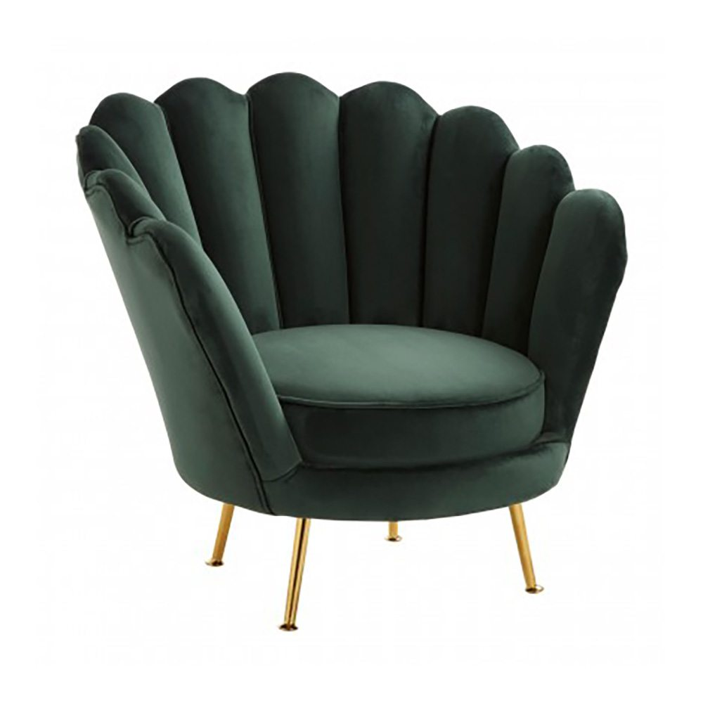 Upton Deep Green Velvet Scallop Chair