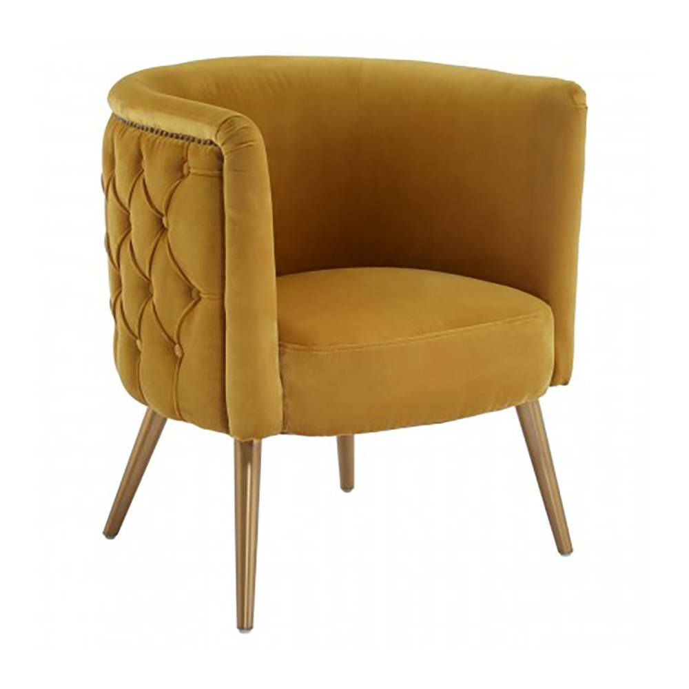 Martin Mustard Yellow Velvet Tub Chair