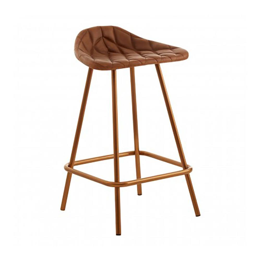 Norton I Leather Quilted Bar Stool