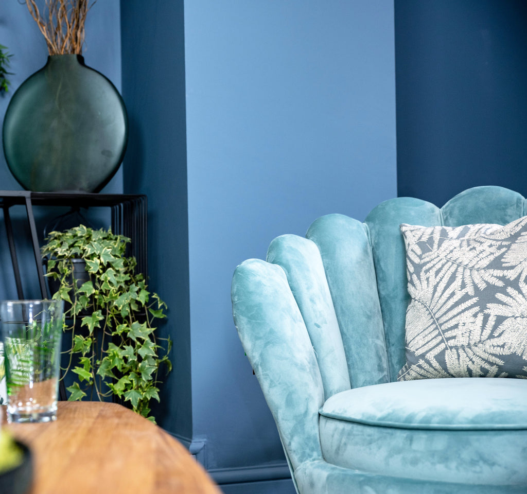 Upton Turquoise Blue Velvet Scallop Chair