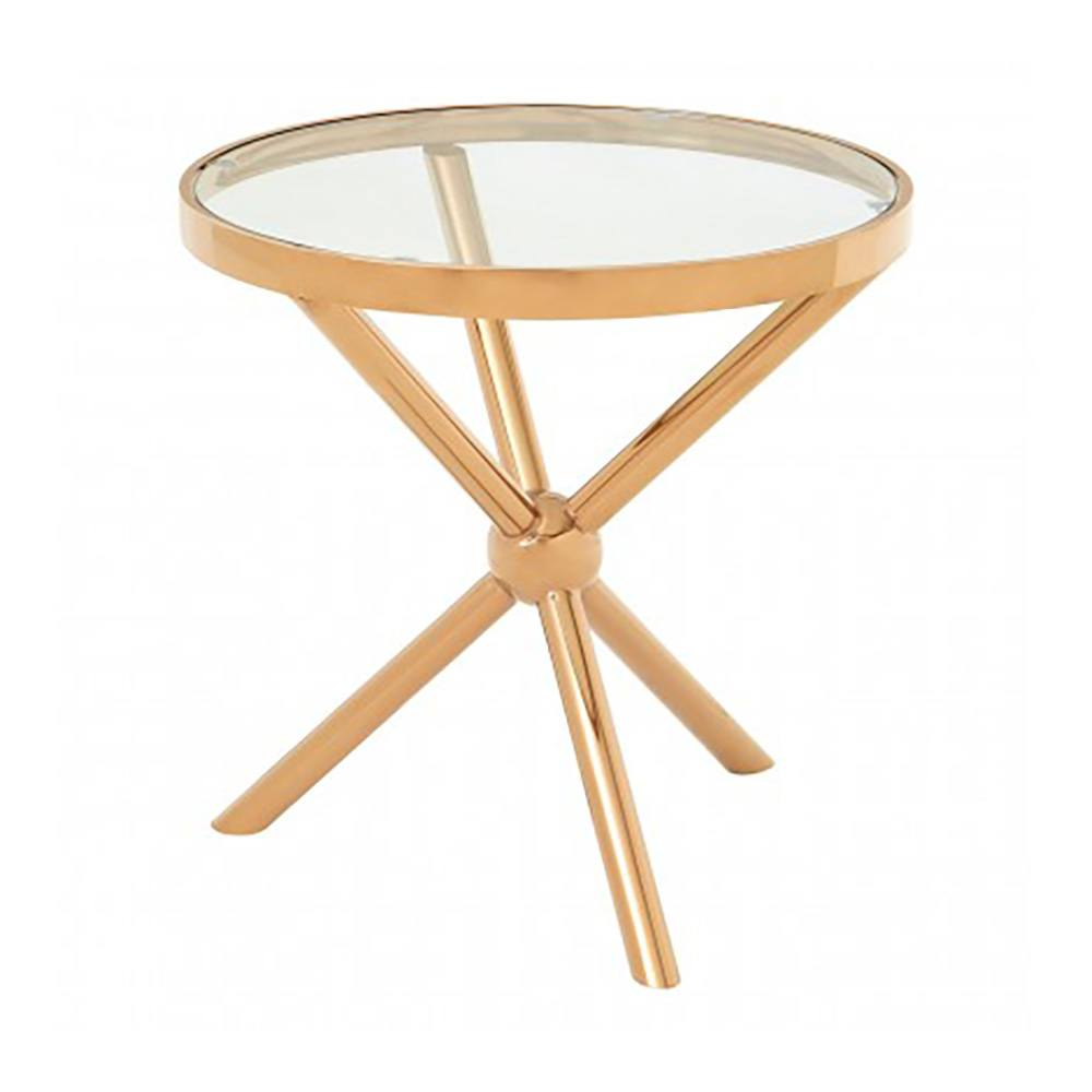 Kingcote Rose Gold Round Side Table